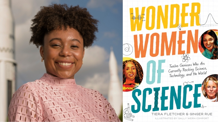 Tiera Fletcher (left) and a book cover (right)