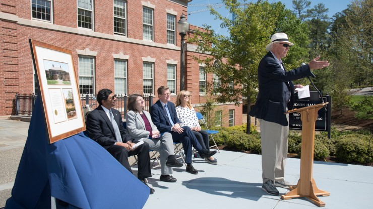 Alumnus Thomas E. Harrington speaks at the April 21, 2018 dedication of Harrington Engineering Quadrangle.