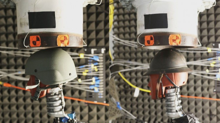 Two pictures side-by-side of a dummy head wearing a helmet beneath the opening of a large tube in a laboratory