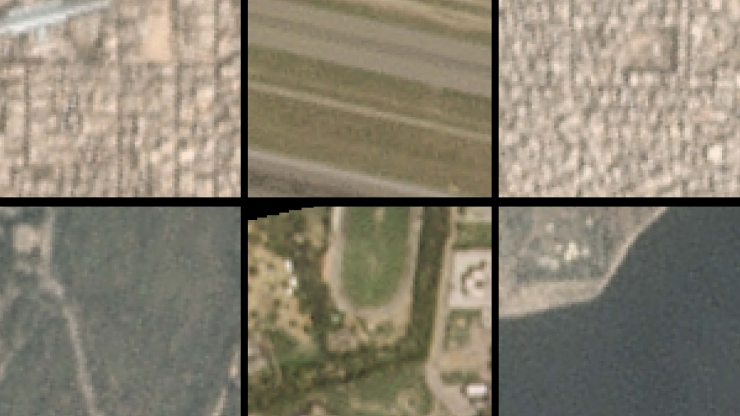 Six satellite images, hazy and urban on top, clearer and greener on bottom