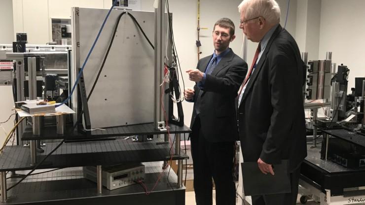 Joel Greenberg in lab with Representative David Price