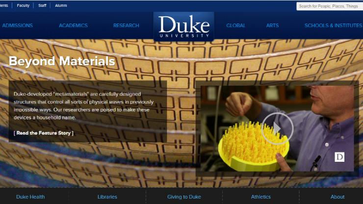 Duke website screenshot of metamaterials feature