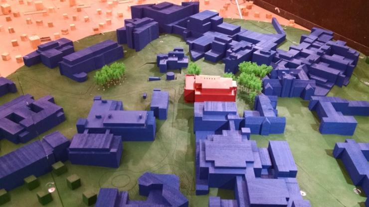 A model of the New Engineering Building (center, in red) and nearby Duke buildings, used in wind tunnel modeling to determine optimum lab exhaust speeds. Photo courtesy of AEI.