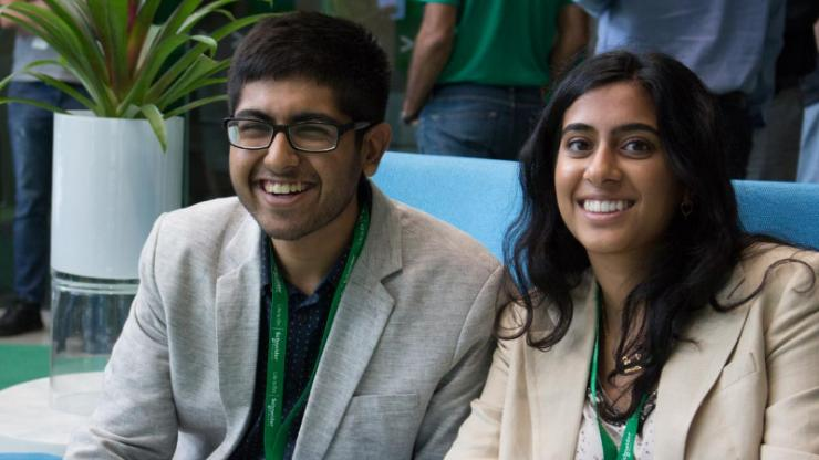 Duke undergraduates Ankit Rastogi (L) and Zui Dighe (R), the North American finalists in Schneider Electric's 2017 Go Green in the City case competition, will head to Paris in October for the international finals.
