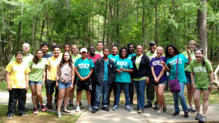 Participants in the 2016-2017 SENSOR Saturday Academy at the program's final field trip at the Eno River