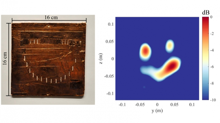 A copper rectangle with slits cut in the shape of a smiley face (left) and a blue screen with red and yellow blobs showing up in the same pattern