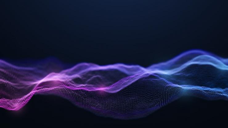 Semi-transparent purple/blue waves reminiscent of a mountain range