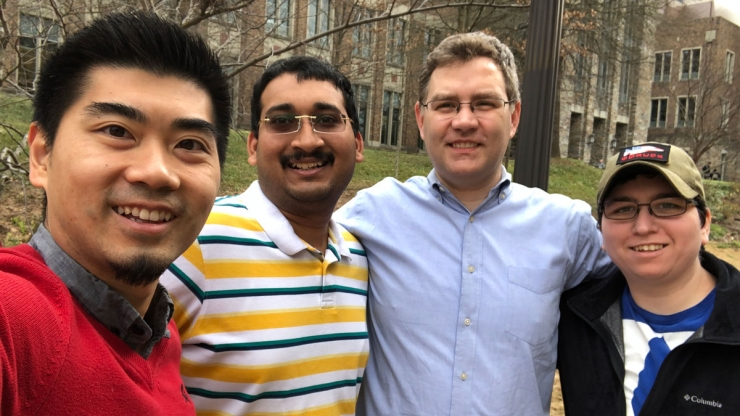 From left: Daniel Luo, Shreyas Hegde, Filippo Screpanti and Courtney Johnson together before social distancing precautions went into effect.