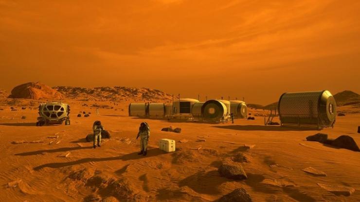 Artist illustration of humans setting up a habitat on Mars