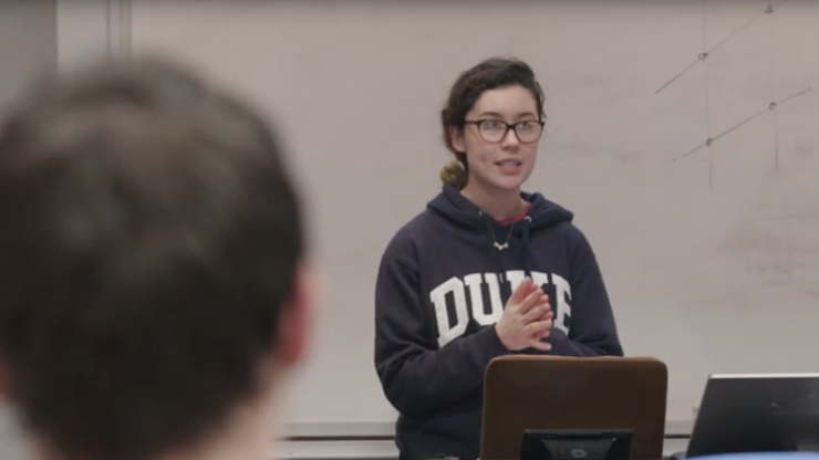 A Duke Engineering student gives a presentation in the Founder's Workshop course.