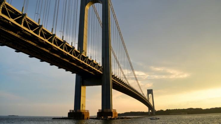 bridge against a sunset