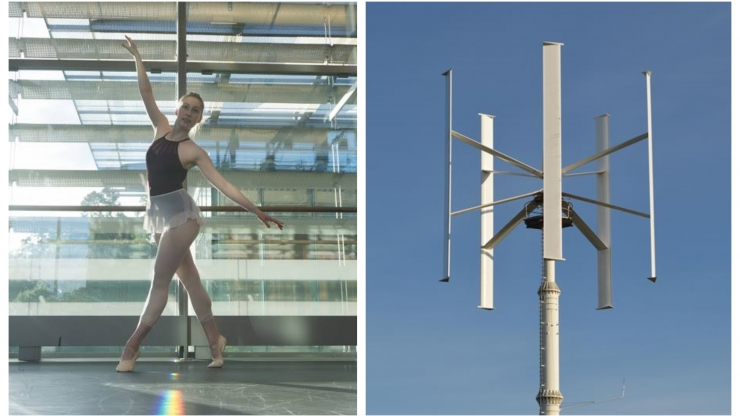 Katie VanderKam's experience as a dancer and choreographer (left) helped her visualize wind flowing through vertical axis wind turbines (right).
