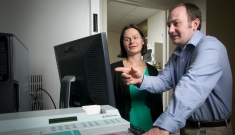 Claudia Gunsch and PhD student Ryan Holzem
