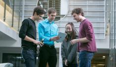 Kyle Bradbury with students