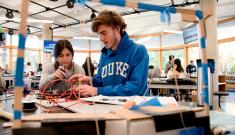 Outfitted with workbenches, laser cutters, 3-D printers and other tools, the new Duke Engineering Design Pod provides a dedicated 5,000-square-foot workspace and active-learning classroom for the first-year design course.