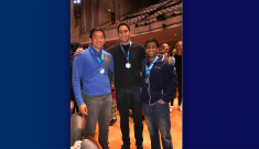 Jason Liu, Faris Albarghouthi, Jay Gupta and Manav Avlani (not pictured) won first prize at the 2017 HackDuke competition