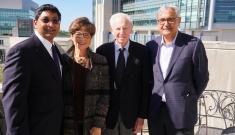 From left to right: Ravi Bellamkonda, Carol Kaganov, Alan L. Kaganov and Ashutosh Chilkoti attend the first symposium sponsored by the Kaganov Initiative in 2017.