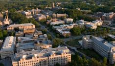Duke campus aerial shot