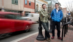 Efe Aras and Galen Reeves in downtown Durham