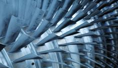 Rows of fan blades in a turbine compressor