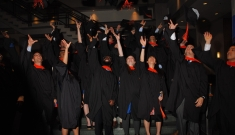 Pratt School of Engineering graduates celebrate after earning their degrees.