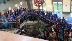 crowd from STEM Day at Duke on stairway