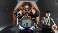 Duke students in wind tunnel with record breaking car