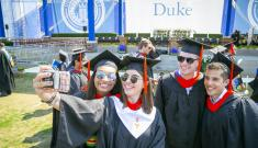 Duke Engineering students take a selfie during Commencement 2018