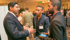At our 1st Annual Invented at Duke Celebration, Professor Ravi Bellamkonda, Dean of the Pratt School of Engineering chats with a Duke Alumni and a member of the local community about inventions, innovation, and entrepreneurship. Photo by Jared Lazarus/Duke Photography