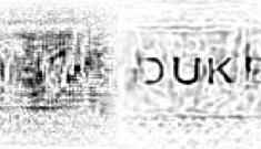 Duke logo before and after distortion removal