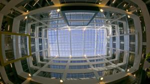 windows in the Chesterfield Building atrium