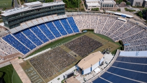 aerial view of commencement ceremony in Wallace Wade Stadium