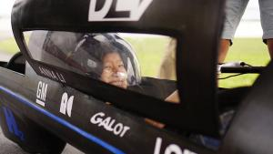 Driver Anna Li in the Duke Electric Vehicles world record-breaking car