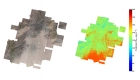 Two aerial maps of Beijing. One of land features, the other color coded by the amount of P2.5 pollution.