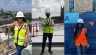 Three students in three separate images standing on construction sites