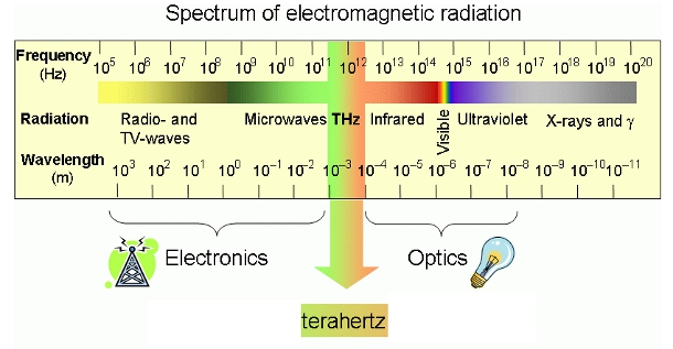 The terahertz range falls between the frequencies favored by optic and electromagnetic technologies.