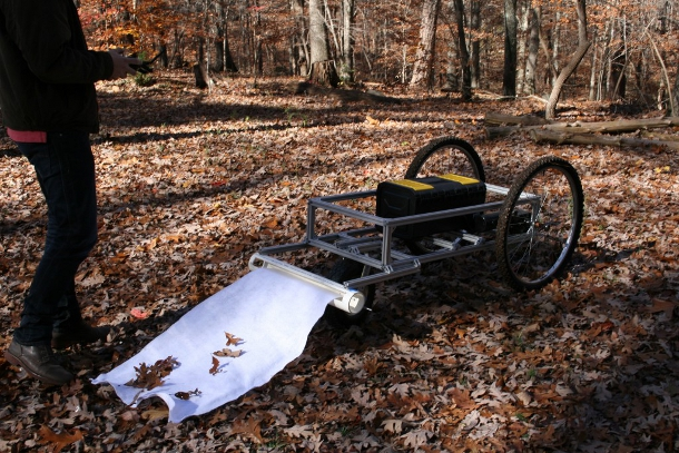 The current version of the robot in a fall field test, which was deemed successful by faculty advisor Greg Gray.