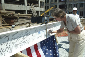Former Duke President Keohane signs beam for CIEMAS