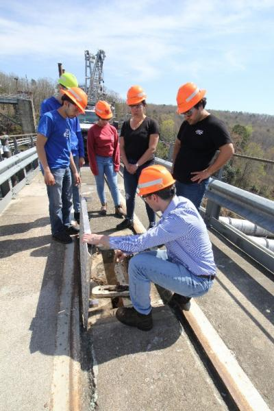 Mechanical engineering students touring Badin Lake hydroelectric facility