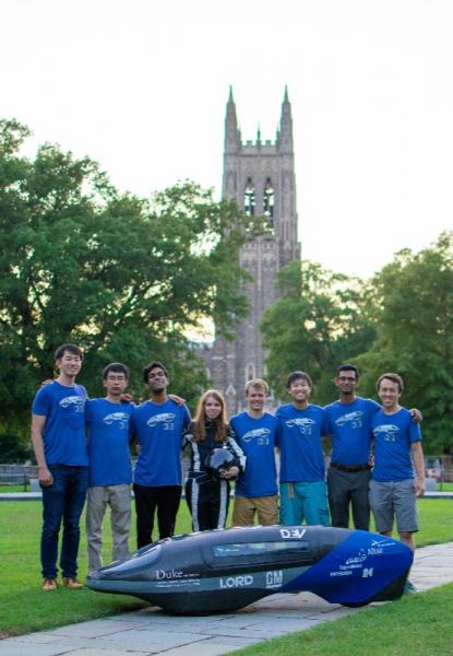 Members of DEV team with car in front of Duke Chapel