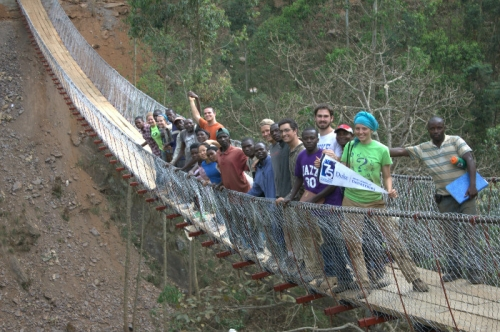 Duke Engineering students worked with community partners to build this bridge in Rwanda.