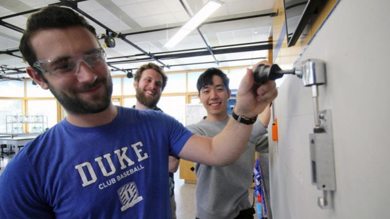 Duke Engineering First-Year Design student Sean Park, right, pictured with teammates John Gross and Will Eisner