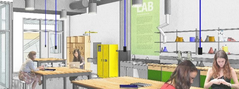 Architect rendering of new student space