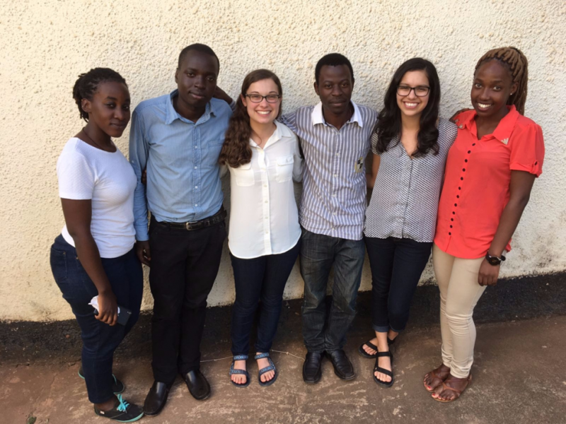 Left to right: Bridget Namugga, Success Kamuhanda, Meredith Lee, Peter Walusimbi, Stacie Arechavala, and Christine Nalwoga developed the oxygen flow-meter during the Duke-Makerere program. Team members Martin Mbowa and Sanjuana Martinez-Ceniceros are not pictured.