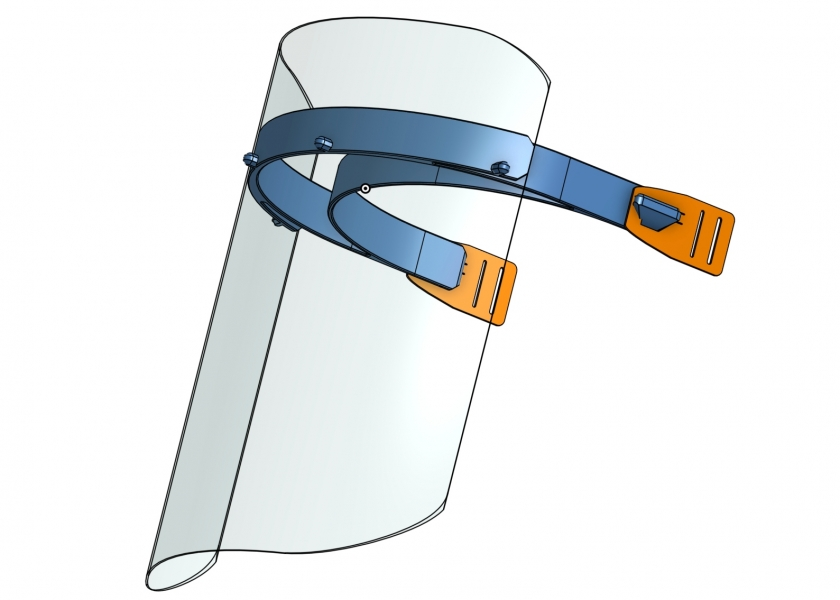 Reusable face shield CAD image