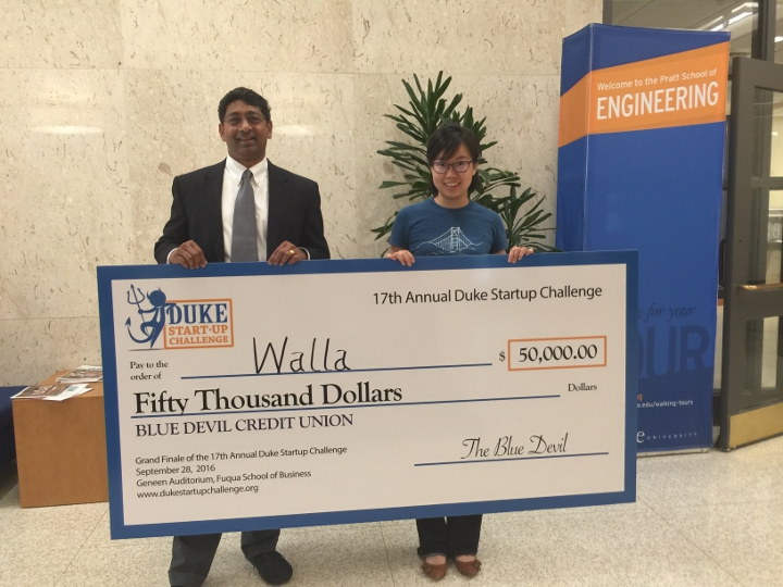 Walla founder Judy Zhu, pictured with Dean Ravi Bellamkonda, won the Grand Prize for the Duke Startup Challenge