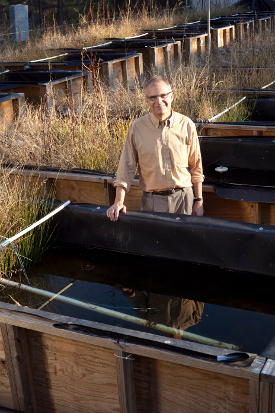 Mark Wiesner with mesocosms